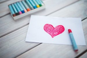 Heart drawing with crayons
